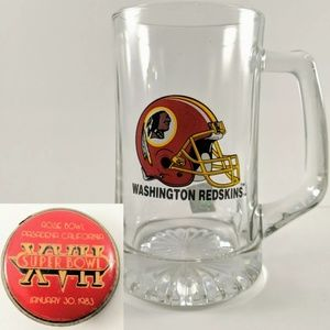Washington Redskins Stein & Vintage Pin 1983